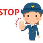 「STOP」と婦人警官・女性警察官のイラスト