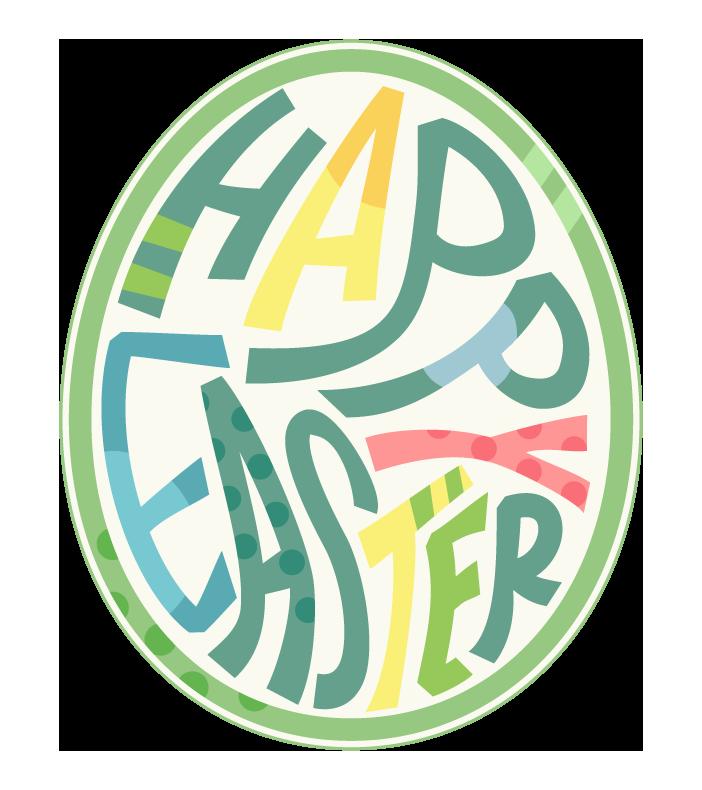 卵型の「HAPPY EASTER」の文字のイラスト