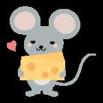 チーズを持ったかわいいネズミのイラスト