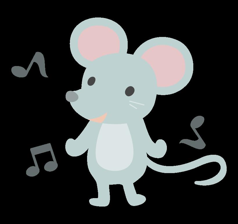 かわいいネズミと音符のイラスト