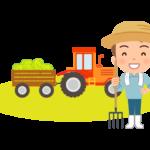 農家とトラクターのイラスト