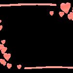 かわいいハートの手描き線フレーム飾り枠イラスト