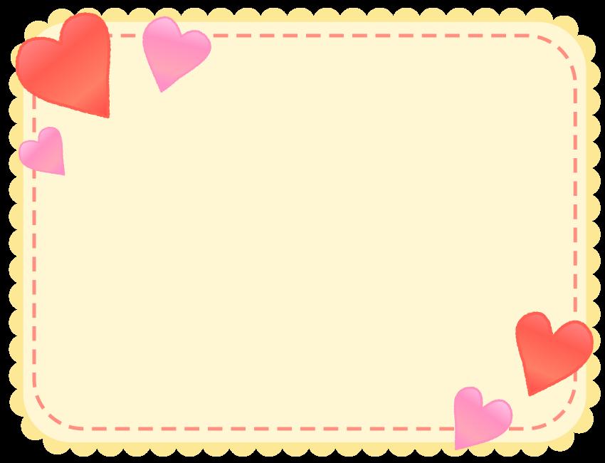 かわいい赤とピンクのハートの黄色フレーム飾り枠イラスト