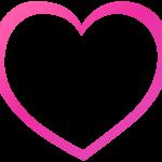 ピンク色のハート型のフレーム飾り枠イラスト