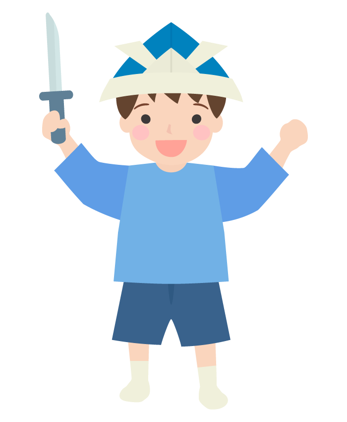 折り紙の兜と子どものイラスト