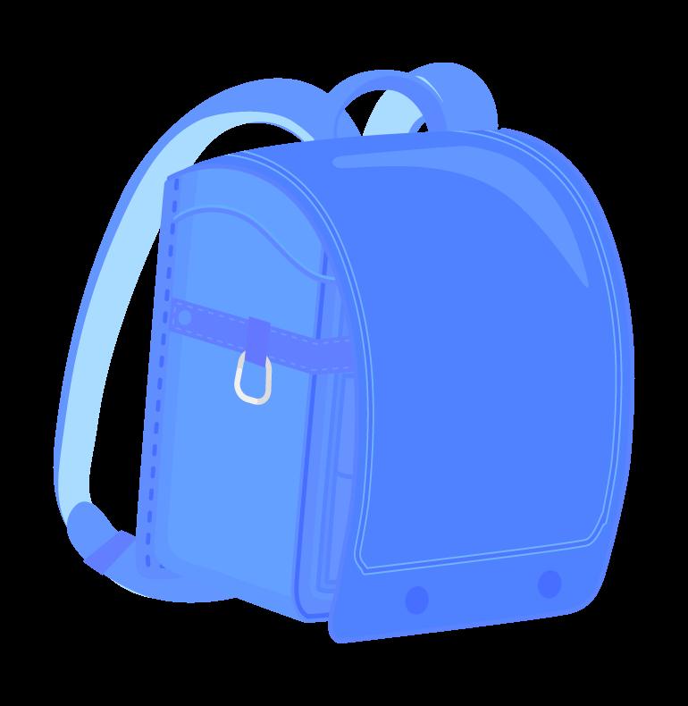 青色のランドセルのイラスト