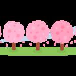 桜並木のイラスト