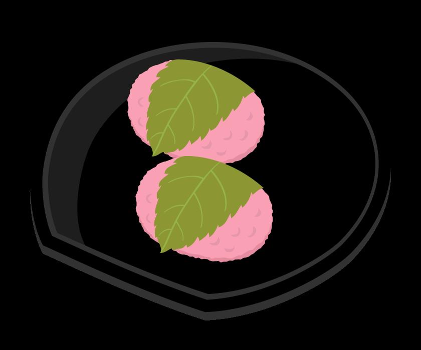 桜餅(関西風・道明寺)のイラスト