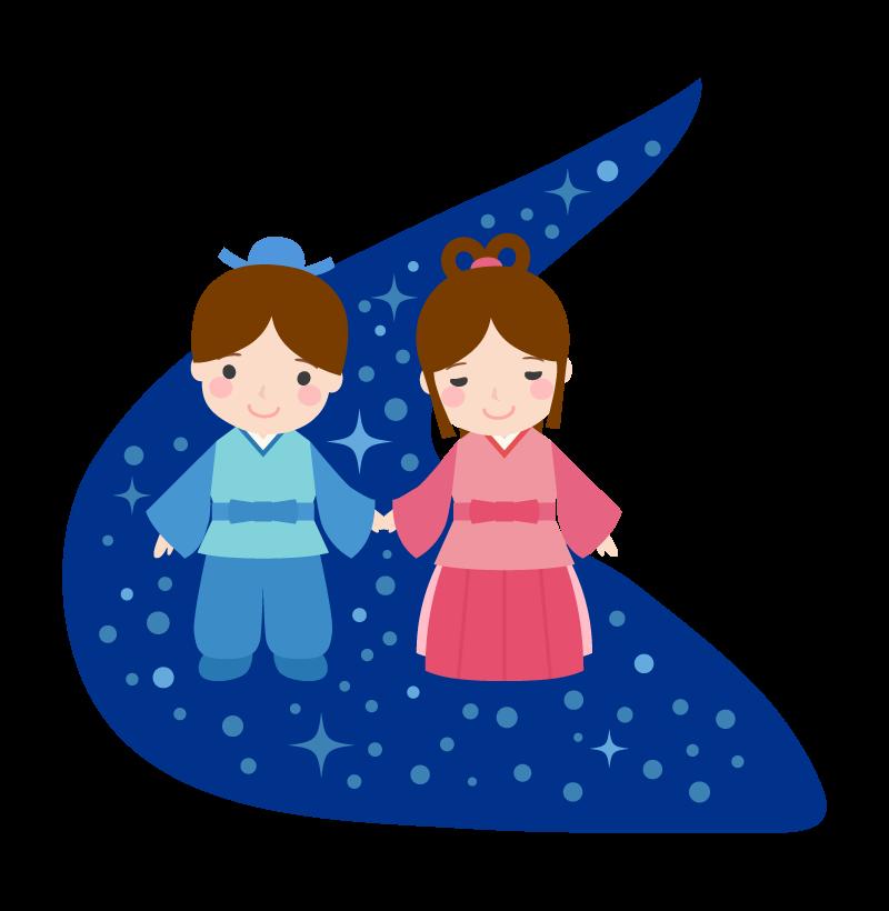 天の川とかわいい織姫と彦星のイラスト