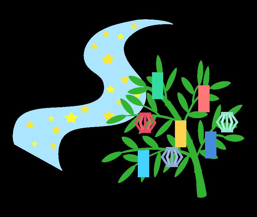 天の川と笹の葉の七夕飾りのイラスト