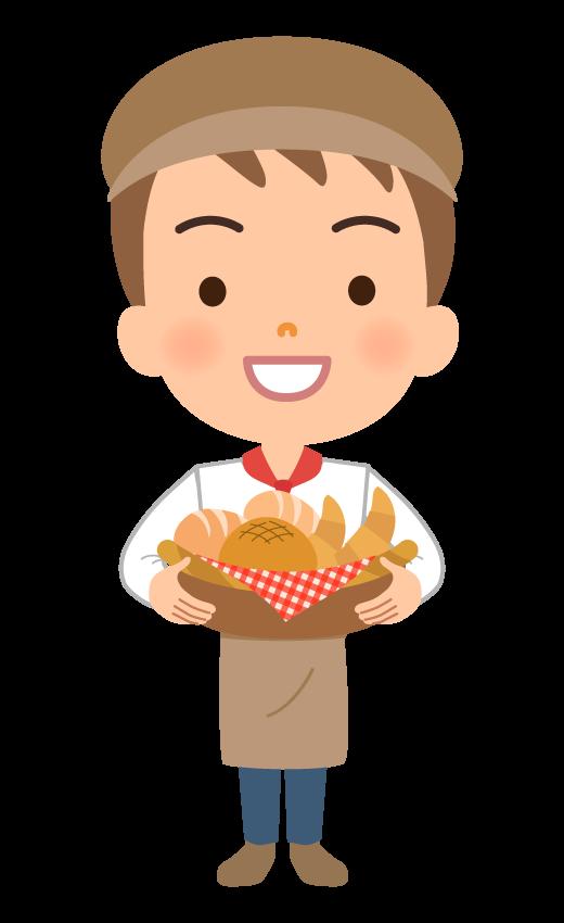 パン屋さんの店員(男性)のイラスト