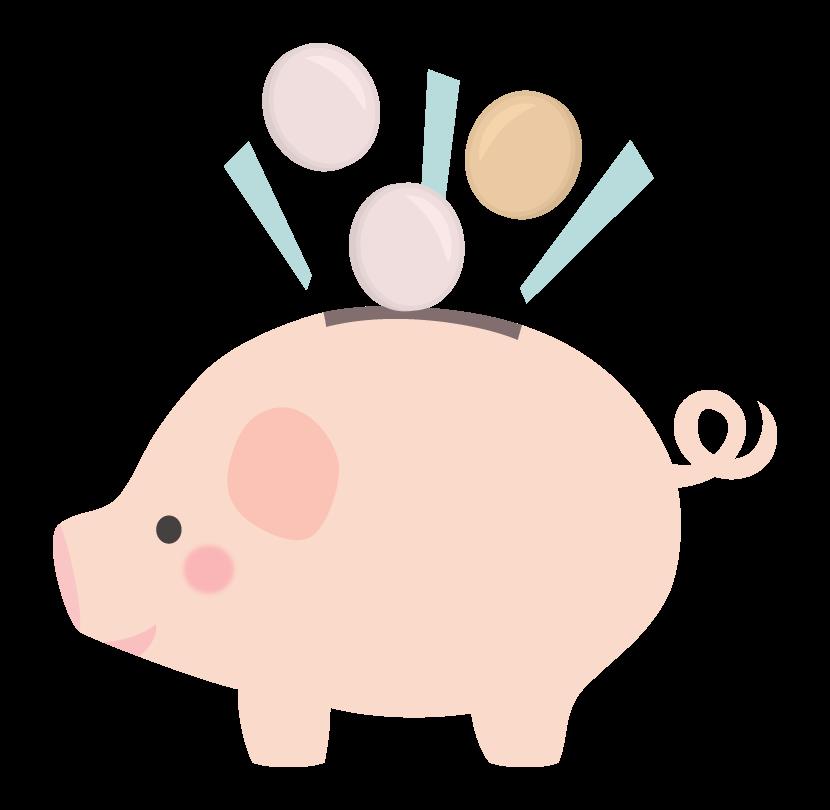 小銭と豚の貯金箱のイラスト