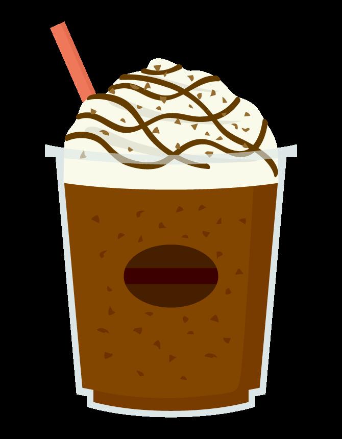 クリームが乗ったコーヒー飲料のイラスト
