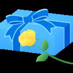 父の日のプレゼントと黄色いバラのイラスト