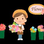 花屋さん(フラワーショップ)の店員のイラスト