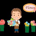男性の花屋さんの店員のイラスト