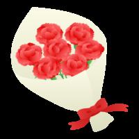 真っ赤なカーネーションの花束のイラスト