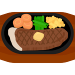 鉄板ステーキのイラスト