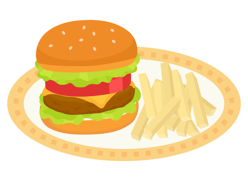 ハンバーガーとポテトフライのイラスト