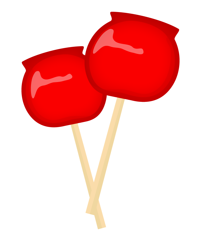 夏祭り・りんご飴のイラスト