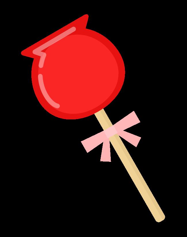 かわいいりんご飴のイラスト