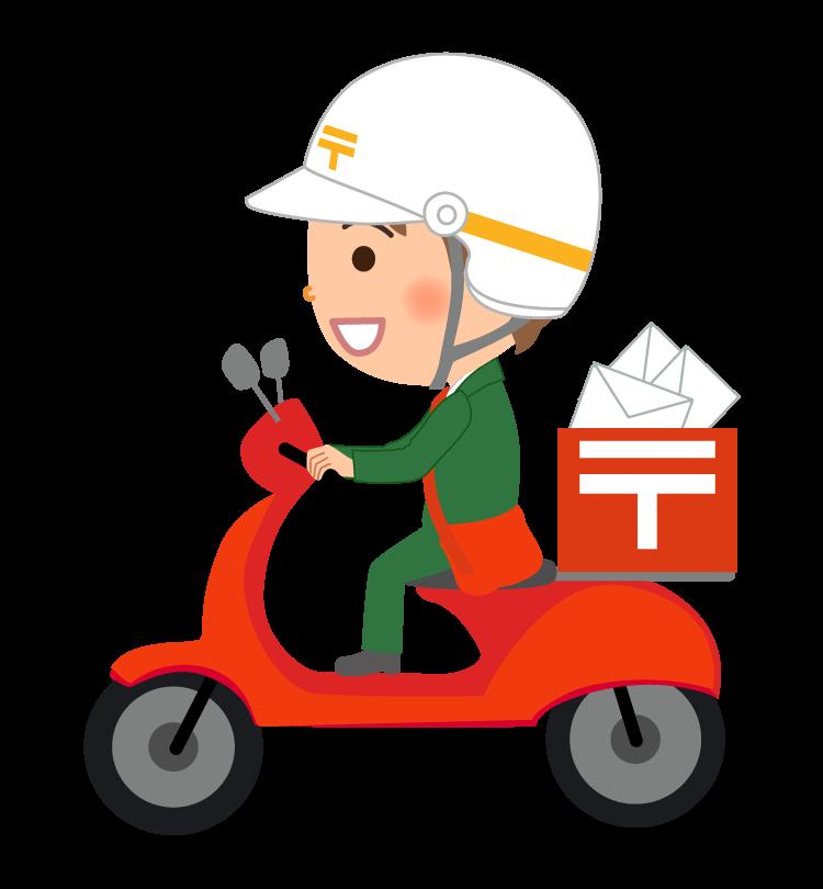 バイクで配達する郵便配達員のイラスト