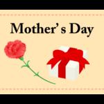 カーネーションと「Mother's Day」(母の日)の文字イラスト