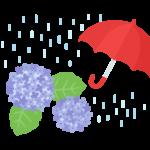 雨と紫陽花(あじさい)のイラスト
