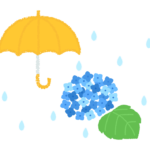 梅雨・紫陽花(あじさい)と雨のイラスト
