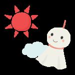 太陽とてるてる坊主のイラスト