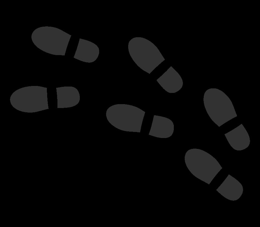 靴の足跡(白黒)のイラスト