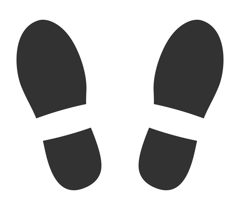 足跡(白黒)のイラスト