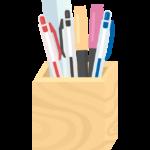 鉛筆立てとペン類のイラスト