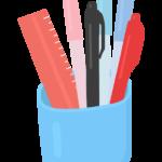鉛筆立てとサインペンなどのイラスト