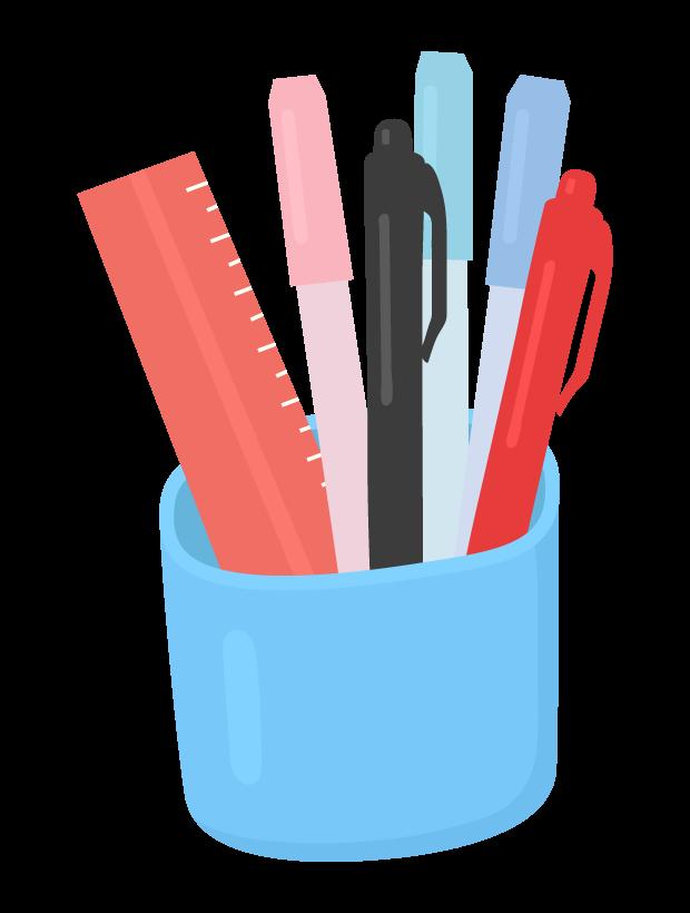 鉛筆立てとサインペンなどのイラスト 無料のフリー素材 イラストエイト