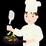 料理をするコックさん(男性)のイラスト