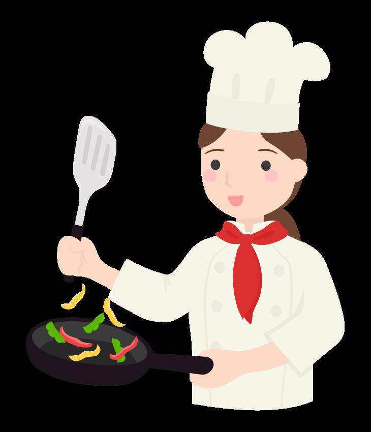 料理をするコックさん(女性)のイラスト
