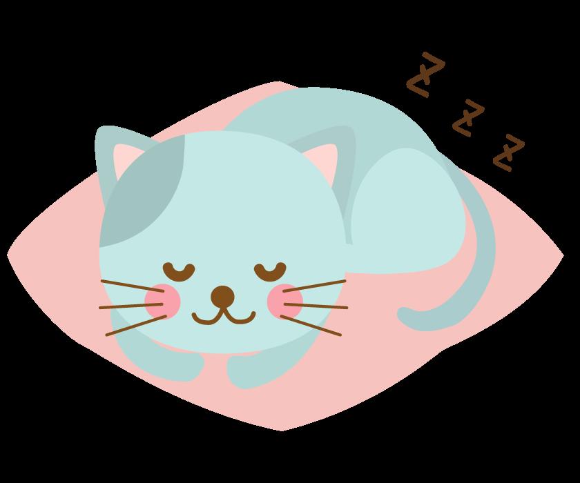 寝ているかわいい猫のイラスト