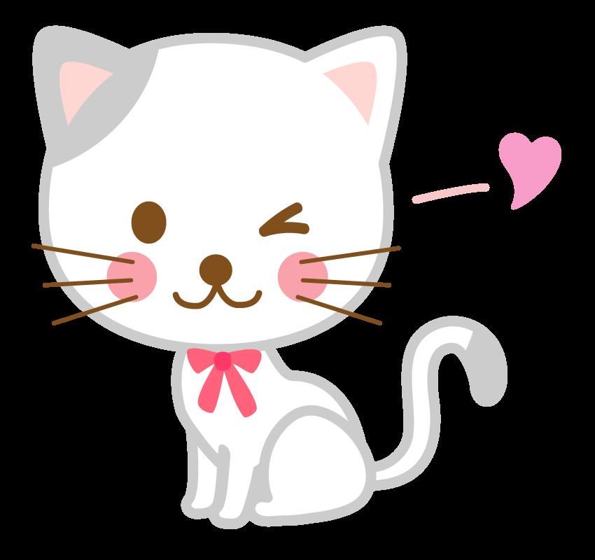 ウインクしている猫のイラスト