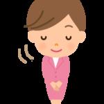 おじぎをする女性会社員のイラスト