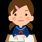 勉強をする学生(女性)のイラスト
