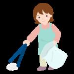 ゴミ拾いをする女性のイラスト
