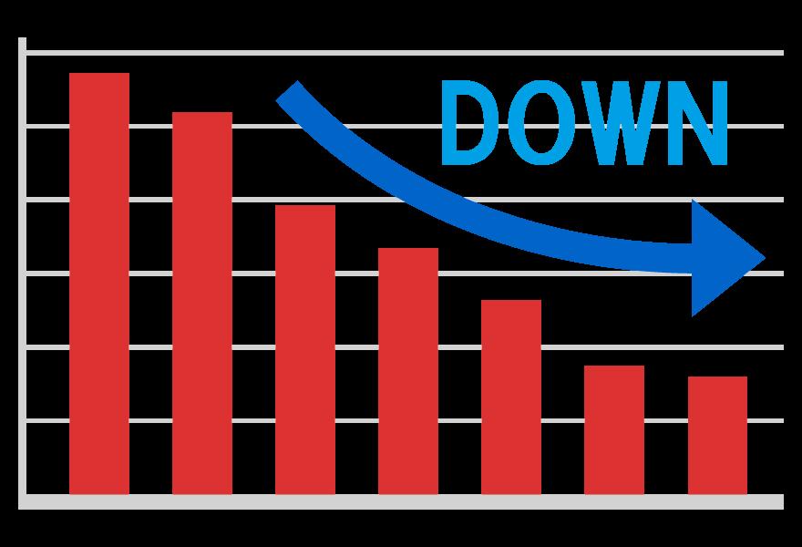 ダウン(下降)の棒グラフのイラスト