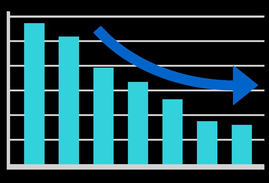 ダウン(下降)の棒グラフのイラスト02