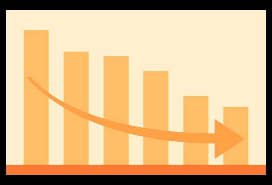 ダウン(下降)の棒グラフのイラスト03