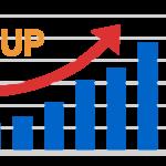 アップ(上昇)の棒グラフのイラスト
