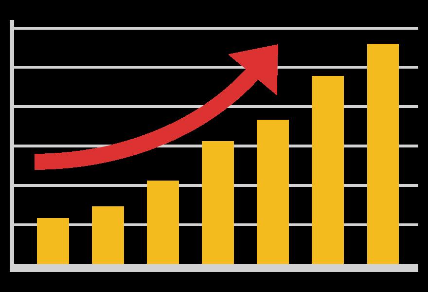 アップ(上昇)の棒グラフのイラスト02