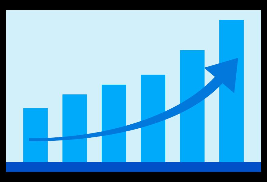 アップ(上昇)の棒グラフのイラスト03