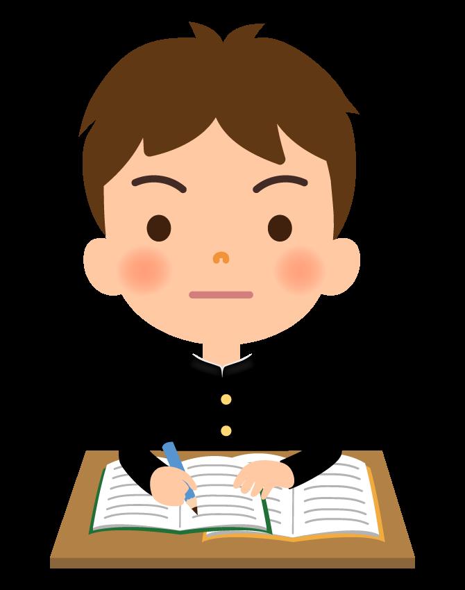 勉強をする学生のイラスト