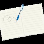 ノートにペンで書いているイラスト